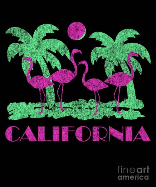 Digital Art - Vintage California Pink Flamingos by Flippin Sweet Gear