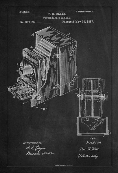 Digital Art - Vintage Camera Patent Drawing From 1887 by Carlos Diazatent Drawing From 1887