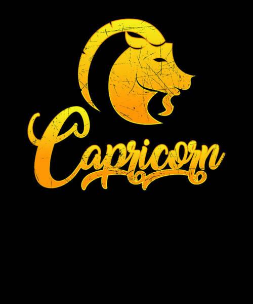 dc7eb6d9e Birth Signs Wall Art - Digital Art - Vintage Capricorn Zodiac Sign Retro  Horoscope Birthday Gift