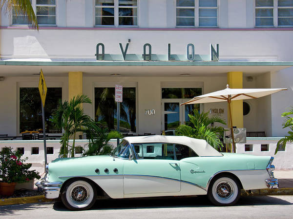 Old Florida Photograph - Vintage Car In Front Of Avalon Hotel by Altrendo Travel