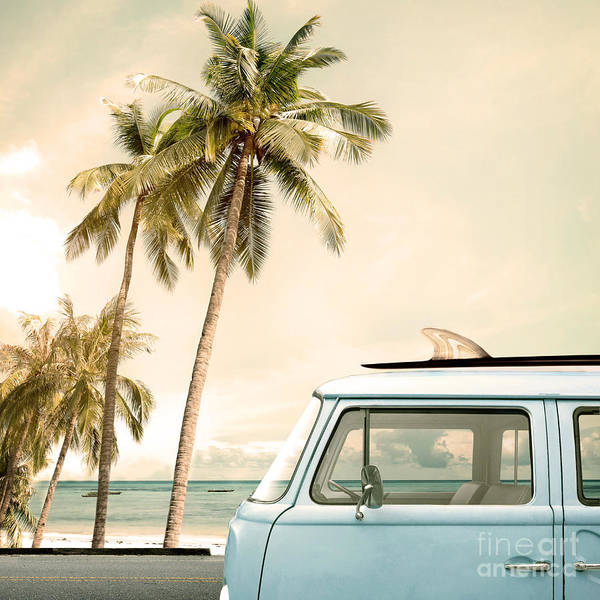 Wall Art - Photograph - Vintage Car Parked On The Tropical by Jakkapan