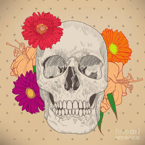 Wall Art - Digital Art - Vintage Card With Skull And Flowers On by Golubok