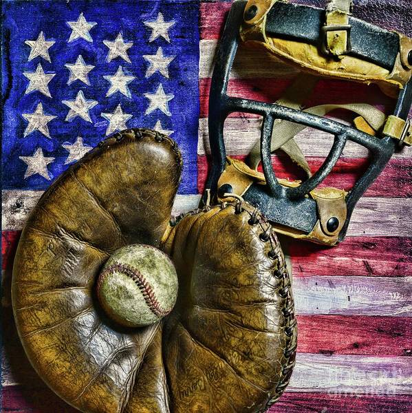 Wall Art - Photograph - Vintage Catchers Mitt And Mask On The American Flag by Paul Ward