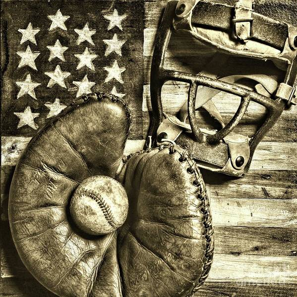 Wall Art - Photograph - Vintage Catchers Mitt And Mask On The American Flag Sepia by Paul Ward