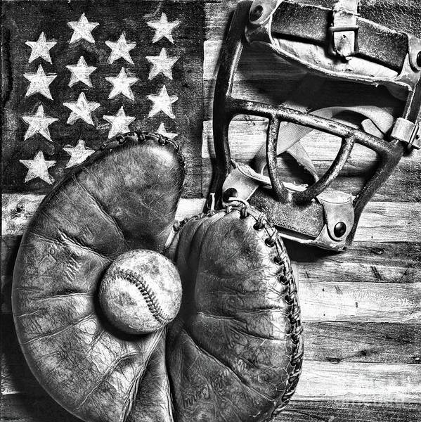 Wall Art - Photograph - Vintage Catchers Mitt And Mask On The American Flag Square B Andw by Paul Ward