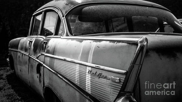 Old Chevy Photograph - Vintage Chevy Bel Air Black And White by Edward Fielding