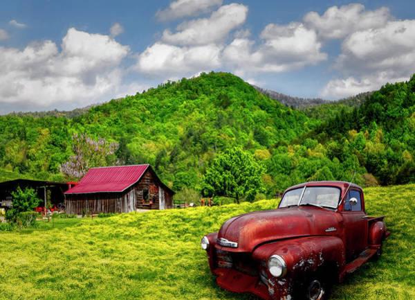 Wall Art - Photograph - Vintage Chevy Under Blue Skies by Debra and Dave Vanderlaan