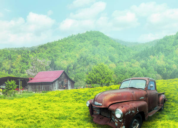 Wall Art - Photograph - Vintage Chevy Under Misty Morning Skies by Debra and Dave Vanderlaan