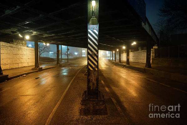 Stone Wall Photograph - Vintage Chicago Bridge At Night by Bruno Passigatti