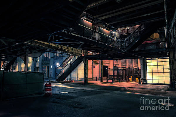 Wall Art - Photograph - Vintage Chicago L Station At Night by Bruno Passigatti