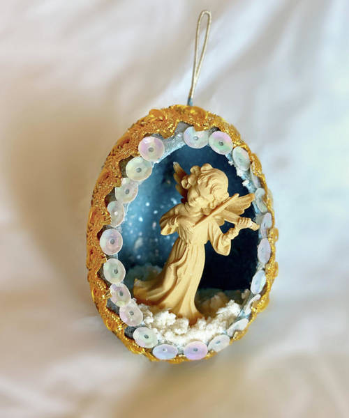 Photograph - Vintage Christmas Egg Ornament Angel2 by Marilyn Hunt