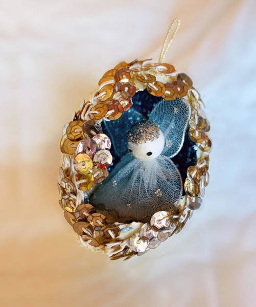 Photograph - Vintage Christmas Ornament Egg Angel by Marilyn Hunt