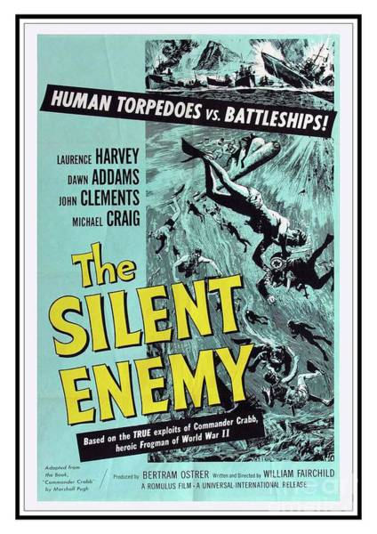 Silent Painting - Vintage Classic Movie Posters, The Silent Enemy by Esoterica Art Agency