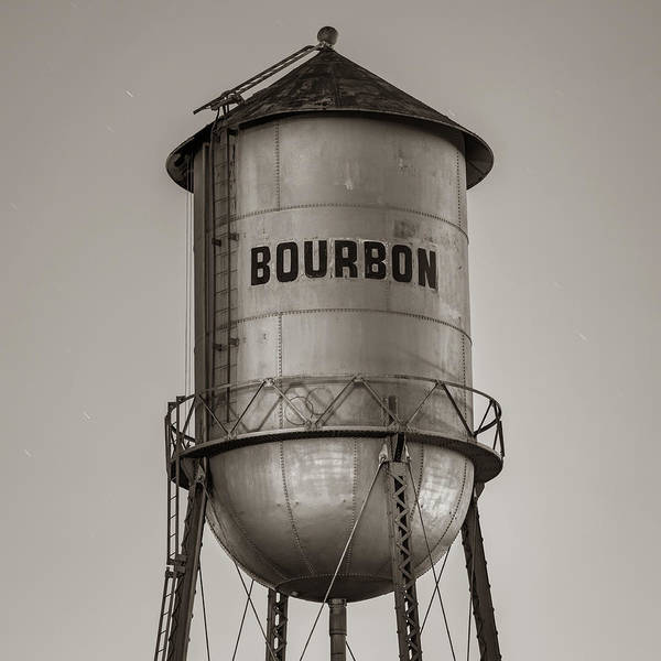 Photograph - Vintage Classic Sepia Bourbon Water Tower At Dusk by Gregory Ballos