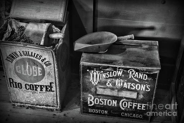 Wall Art - Photograph - Vintage Coffee Boxes In Black And White by Paul Ward