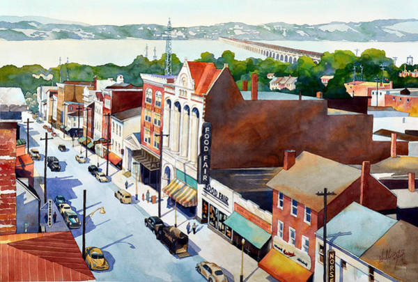 Painting - Vintage Color, Columbia Rooftops by Mick Williams