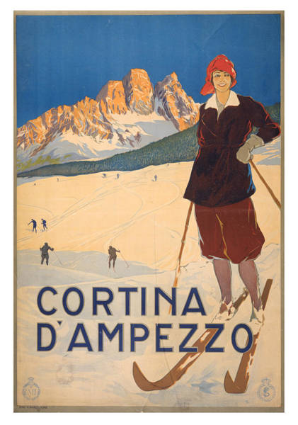 Wall Art - Photograph - Vintage Cortina D'ampezzo Travel Poster by Ricky Barnard