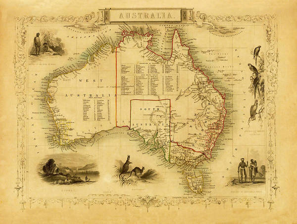History Digital Art - Vintage Decorative Map Of Australia by Nicoolay