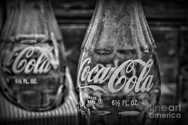 Wall Art - Photograph - Vintage Delicious Coca-cola Bottle Black And White by Paul Ward
