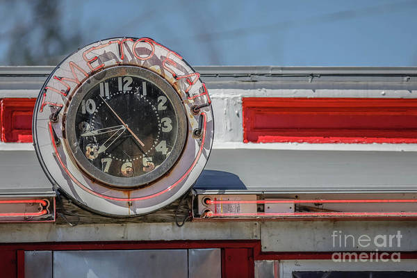 Wall Art - Photograph - Vintage Diner Neon Clock Time To Eat by Edward Fielding