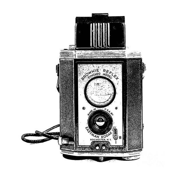 Wall Art - Digital Art - Vintage Eastman Kodak Brownie Reflex Synchro Model Film Camera Square Stamp by Edward Fielding