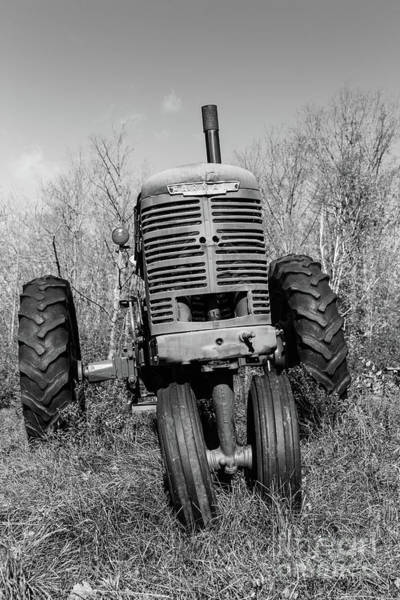 Wall Art - Photograph - Vintage Farmall Tractor Springfield Nh Bw by Edward Fielding