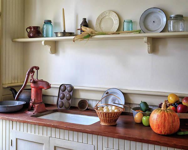 Photograph - Vintage Farmhouse Kitchen by James Eddy