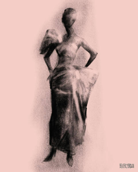Wall Art - Drawing - Vintage Fashion Evening Gown by Beverly Brown