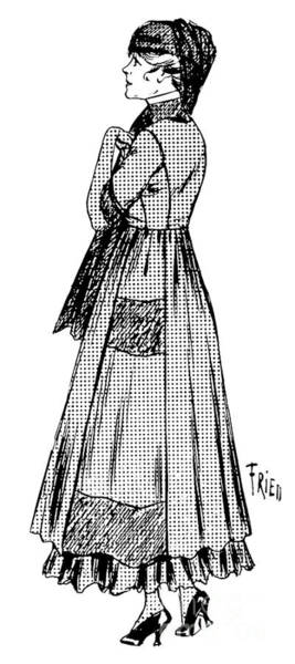 Scarf Drawing - Vintage Fashion Plate  Dress And Hat With Veil Considered Suitable For Mourning by French School