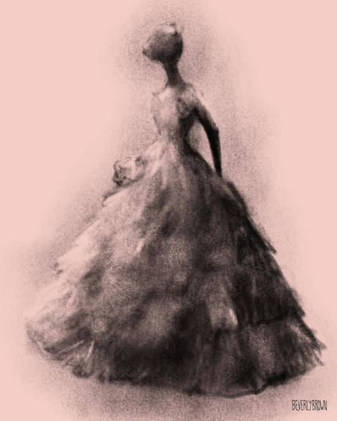 Wall Art - Drawing - Vintage Fashion Ruffled Ball Gown by Beverly Brown