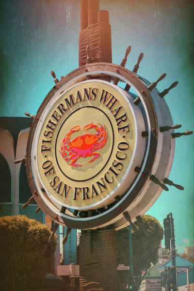 Dock Of The Bay Photograph - Vintage Fishermans Wharf Sign San Francisco  by Carol Japp