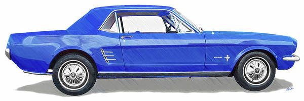 Drawing - Vintage Ford Mustang - Dwp3864868 by Dean Wittle