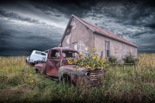 Photograph - Vintage Ford Truck With Yellow Flowers Abandoned On The Prairie by Randall Nyhof