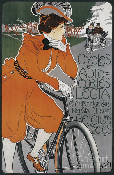 Wall Art - Painting - Vintage French Art Nouveau Bicycle And Car Advert by Tina Lavoie