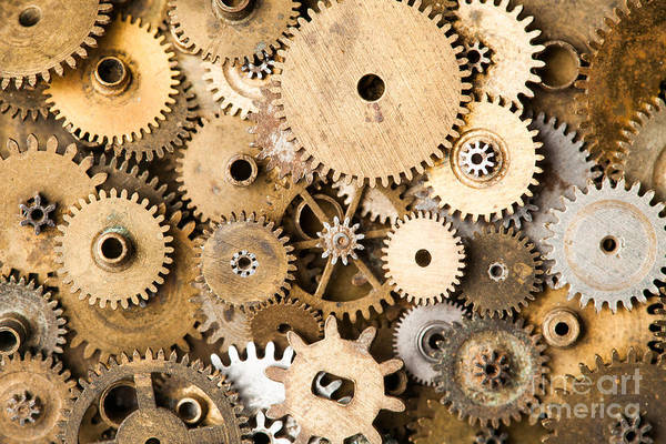 Wall Art - Photograph - Vintage Gears Macro View. Aged by Besjunior