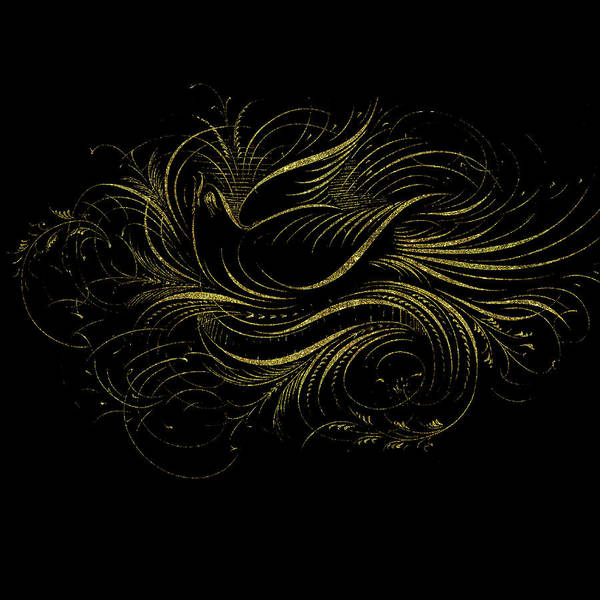 Drawing - Vintage Gold Calligraphy Bird On Black by Peggy Collins