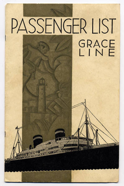 Wall Art - Drawing - Vintage Grace Line Passenger List Graphic by Marilyn Hunt