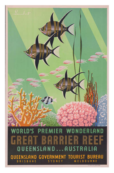 Wall Art - Photograph - Vintage Great Barrier Reef Travel Poster 2 by Ricky Barnard
