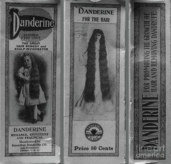 Wall Art - Photograph - Vintage Hair Care Danderine 3 Black And White by Paul Ward