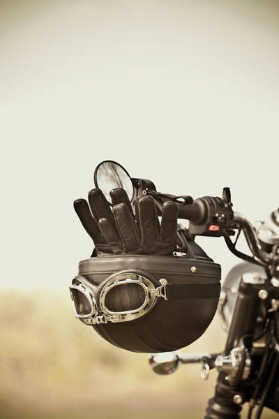 Helmet Photograph - Vintage Helmet And Gloves On Motorcycle by Vtwinpixel