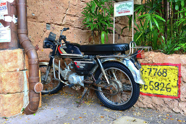 Wall Art - Photograph - Vintage Honda And Taxi Stand India by David Lee Thompson