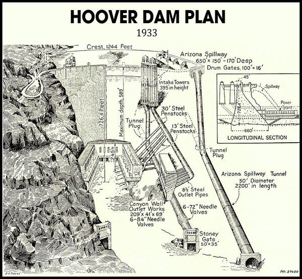 Wall Art - Photograph - Vintage Hoover Dam Drawing by Daniel Hagerman