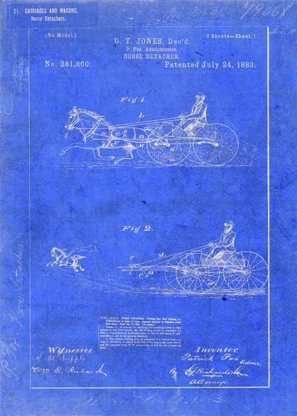 Patent Mixed Media - Vintage Horse Detacher Patent Blueprint Drawing by Design Turnpike