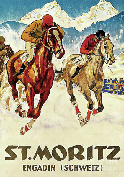 Wall Art - Painting - Vintage Horse Racing In The Snow Sport And Travel Ad by Tina Lavoie