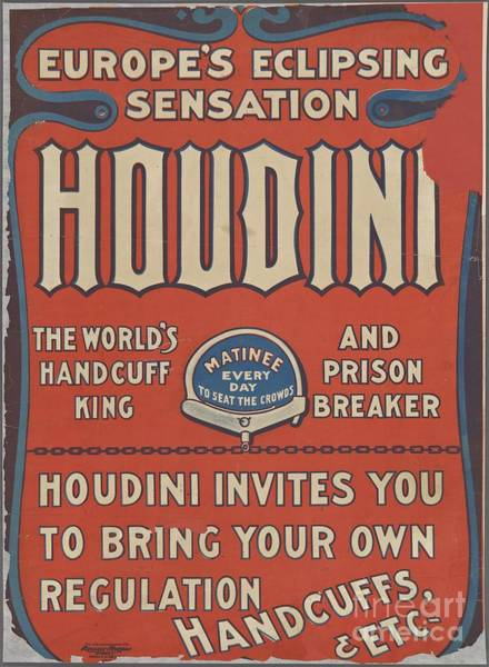 Wall Art - Painting - Vintage Houdini Poster by Esoterica Art Agency