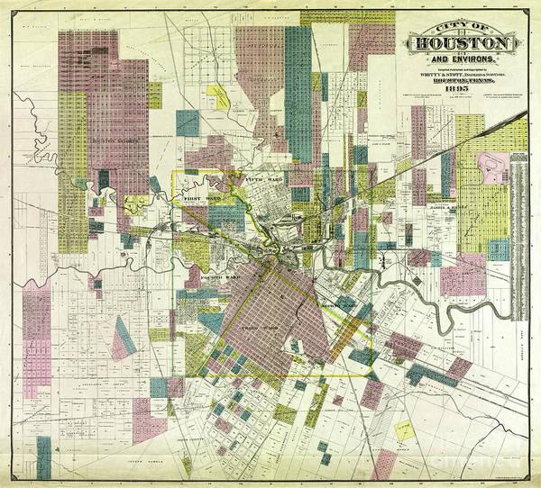 Wall Art - Photograph - Vintage Houston Map by Jon Neidert