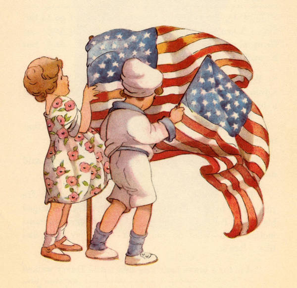 Quaint Drawing - Vintage Illustration Kids And Flags by Marilyn Hunt
