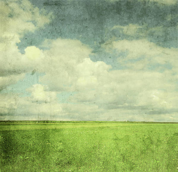 Cloudscape Photograph - Vintage Image Of Green Field And Blue by Jasmina007