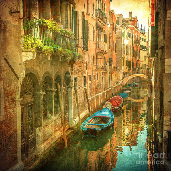 Wall Art - Photograph - Vintage Image Of Venetian Canals by Javarman