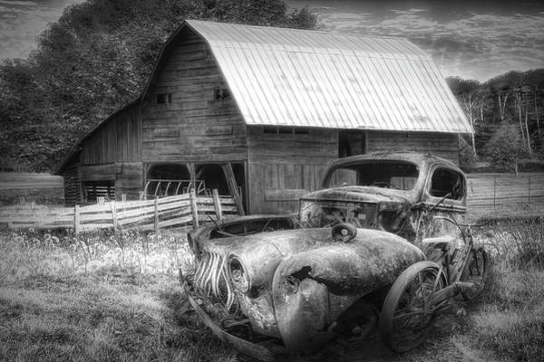 Photograph - Vintage In The Pasture Black And White by Debra and Dave Vanderlaan